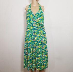 Boden St. Lucia Green Watercolor Halter Dress 10R